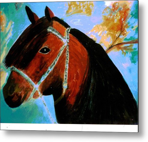 Horse Metal Print featuring the painting Horse With Long Forelocks by Anne-Elizabeth Whiteway