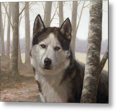 Husky Metal Print featuring the painting Husky In The Woods by John Silver