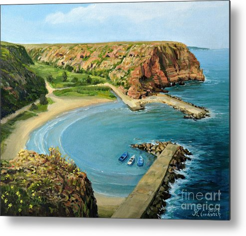 Art Metal Print featuring the painting In The Bay by Kiril Stanchev
