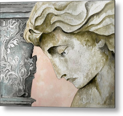Watercolor Metal Print featuring the painting Introspective by Brenda Owen