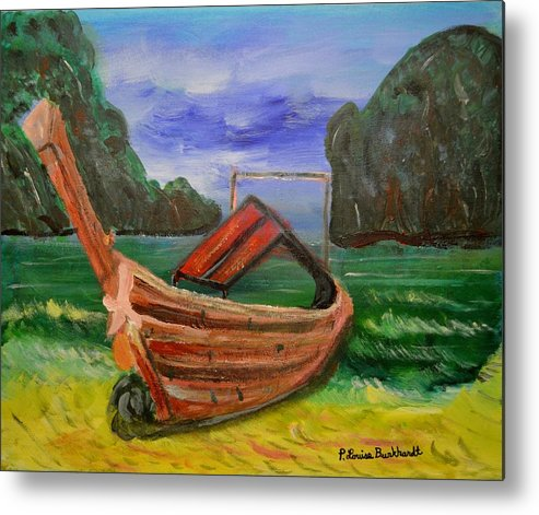 Tropical Metal Print featuring the painting Island Canoe by Louise Burkhardt