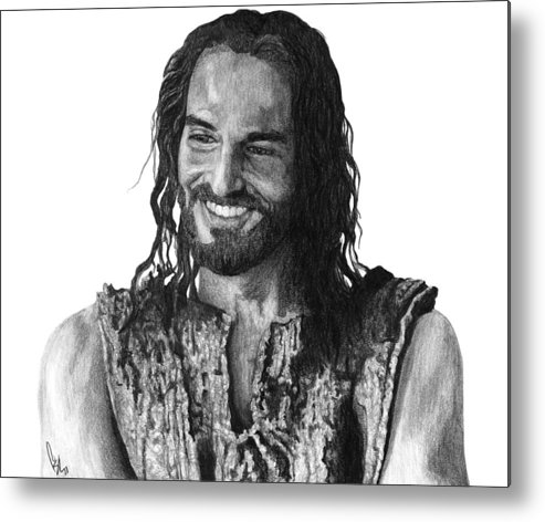 Drawing Metal Print featuring the drawing Jesus Smiling by Bobby Shaw