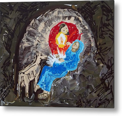 Christmas Metal Print featuring the painting Labor In The Manger by Anne Cameron Cutri