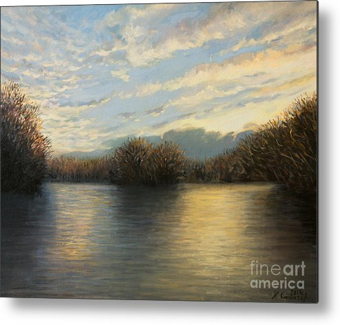 Illustration Metal Print featuring the painting Light At The End Of The Day by Kiril Stanchev