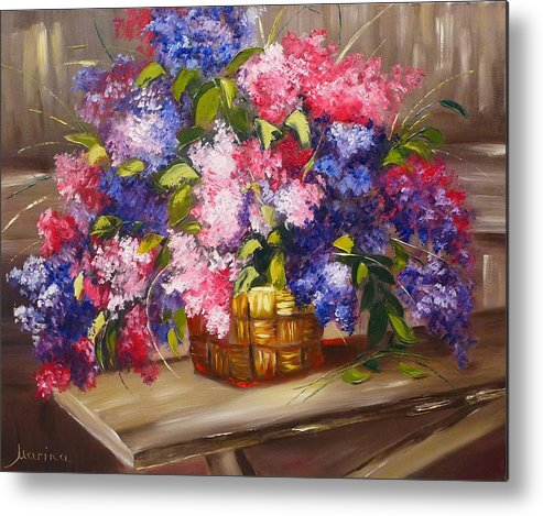 Floral Flowers Lilac Colorful Purple Pink Basket Cottage Bench Cabin Logs Abstract Rustic Metal Print featuring the painting Rustic Lilac by Marina Wirtz