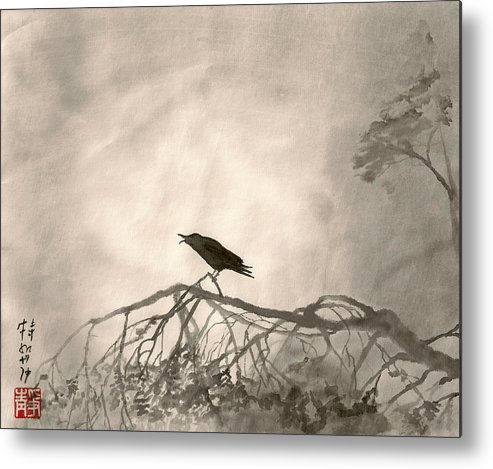 Japanese Metal Print featuring the painting Lonely Cry One by Terri Harris