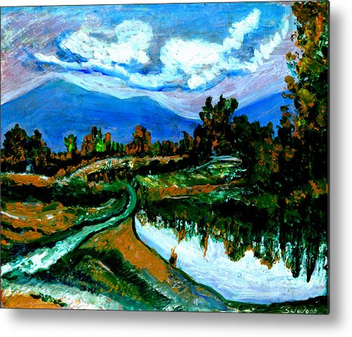 Himalayas Metal Print featuring the painting Manas Sarovr Lake-17- by Anand Swaroop Manchiraju