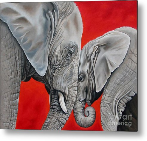 Elephant Metal Print featuring the painting Mothers Love by Ilse Kleyn