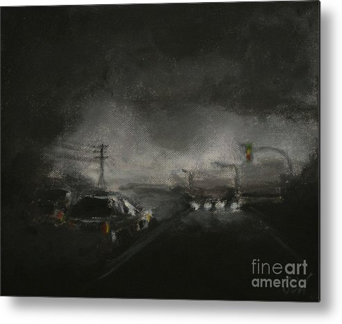 Driving Metal Print featuring the painting Night Driving - Stanhope Parkway by Sandra D Wilson