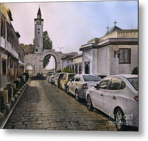 Old Cityscape Metal Print featuring the painting Old Damascus . Bab Sharqi by Alber Assi