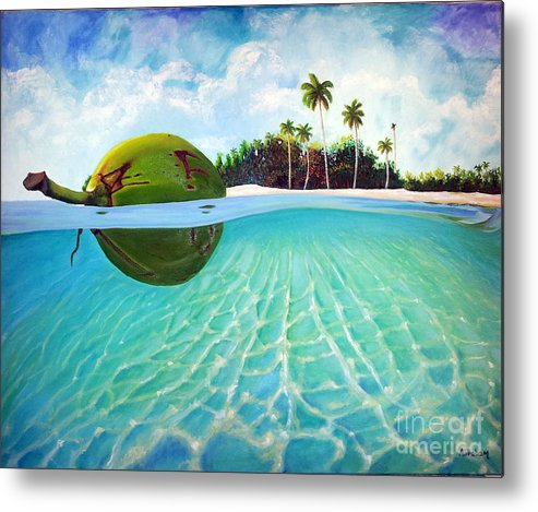 Coconut Metal Print featuring the painting On The Way by Jose Manuel Abraham