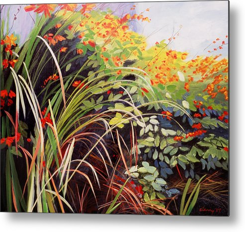 Landscape Metal Print featuring the painting Pacific Crocosmia by Melody Cleary