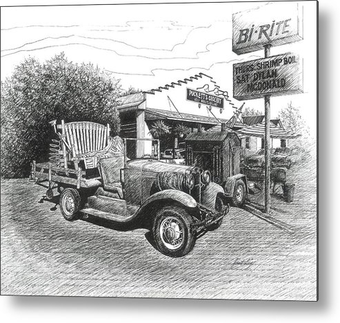 Leipers Fork Metal Print featuring the drawing Puckett's Grocery And Restuarant by Janet King