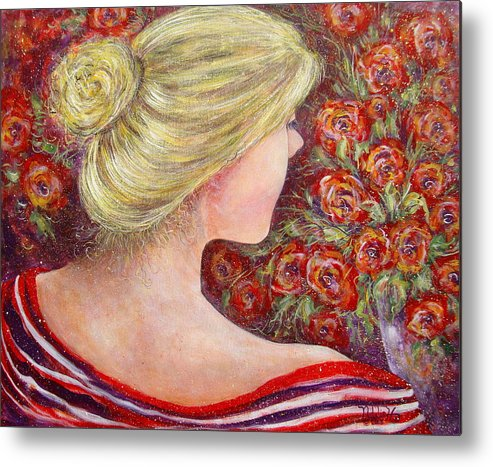Female Metal Print featuring the painting Red Scented Roses by Natalie Holland