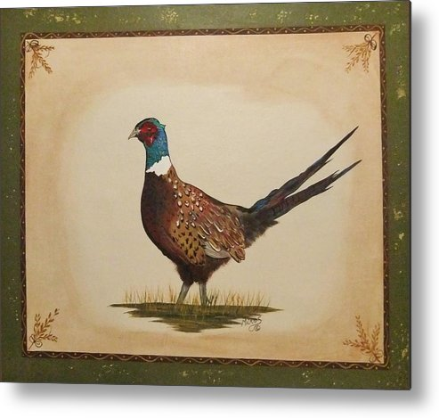 Pheasant Metal Print featuring the painting Ringneck Pheasant by Cindy Micklos