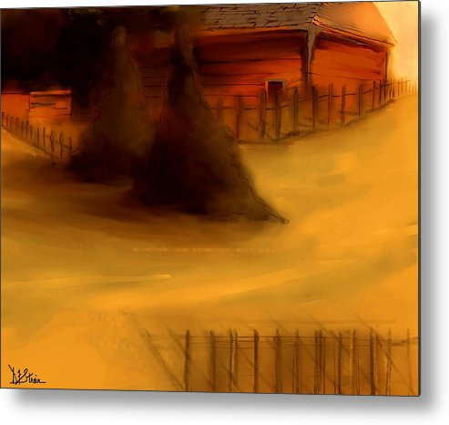 Fineartamerica.com Metal Print featuring the painting Serene New England Cabin In Autumn #3 by Diane Strain