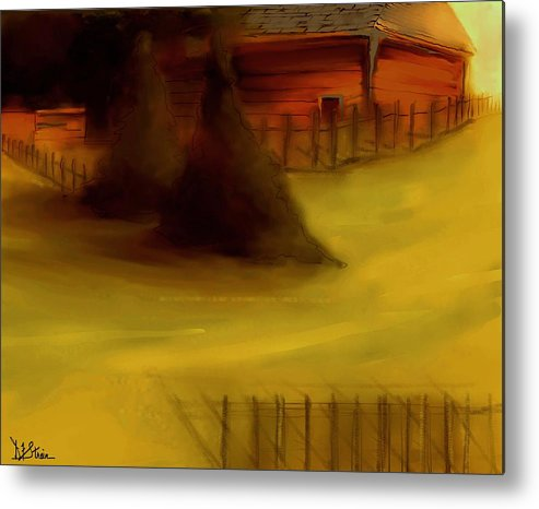 Fineartamerica.com Metal Print featuring the painting Serene New England Cabin In Autumn 5 by Diane Strain