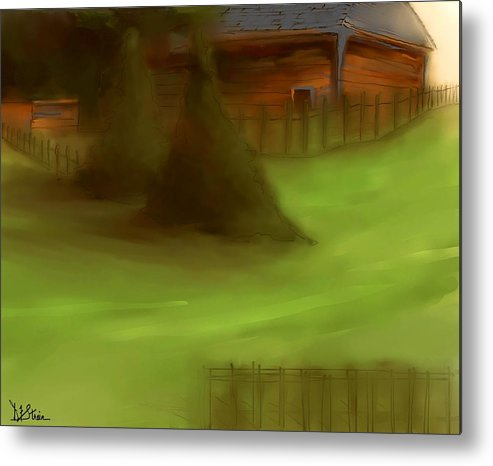 Fineartamerica.com Metal Print featuring the painting Serene New England Cabin In Summer #6 by Diane Strain