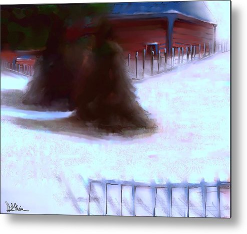 Fineartamerica.com Metal Print featuring the painting Serene New England Cabin In Winter #10 by Diane Strain