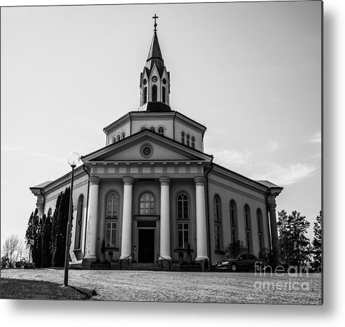 Church Metal Print featuring the pyrography Sjalevadskyrkan by Daniel Bjorck