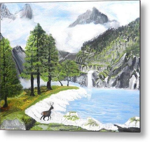 Snow Lake Metal Print featuring the painting Snow Lake by Kiah Bielesch