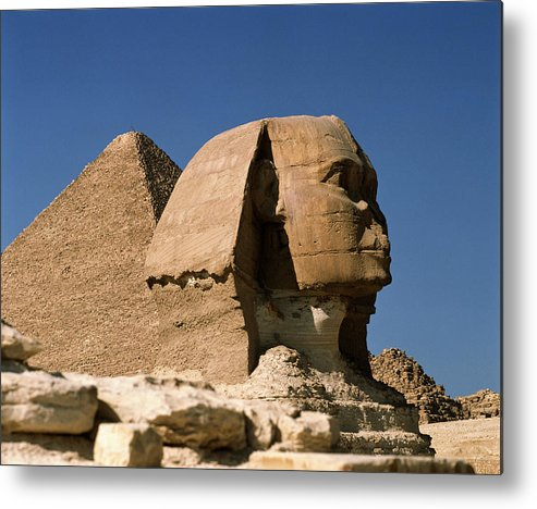 Sphinx With Pyramids, Giza, Egypt, Africa Metal Print