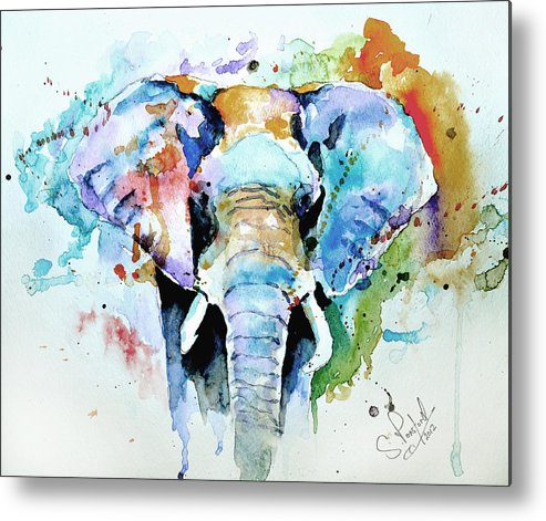 Elephant Metal Print featuring the painting Splash Of Colour by Steven Ponsford