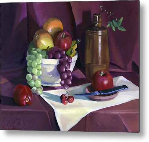 Fine Art Metal Print featuring the painting Still Life With Apples by Nancy Griswold