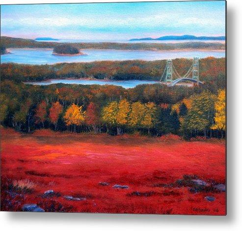 Maine Metal Print featuring the painting Stonington Bridge In Autumn by Laura Tasheiko