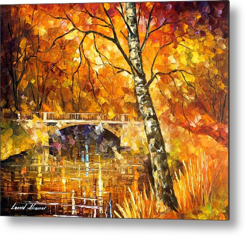 Oil Paintings Metal Print featuring the painting Strong Birch - Palette Knife Oil Painting On Canvas By Leonid Afremov by Leonid Afremov