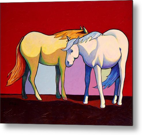 Wildlife Metal Print featuring the painting Summer Winds - Mustangs by Joe Triano