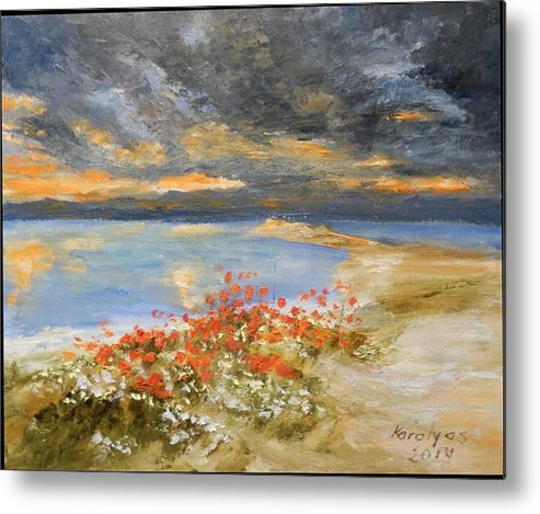 Sunset Metal Print featuring the painting Sunset At Seaside by Maria Karalyos