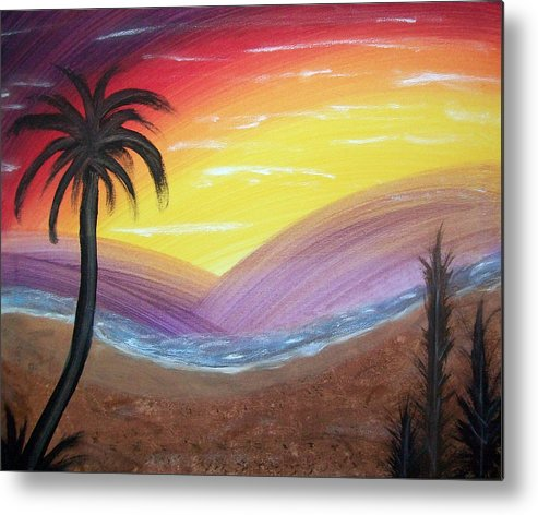 Abstract Metal Print featuring the painting Sunset Escape by Lora Mercado