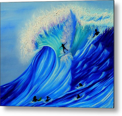 Surf Metal Print featuring the painting Surfing Party by Kathern Welsh