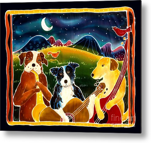 Dog Metal Print featuring the painting Three Dog Night by Harriet Peck Taylor