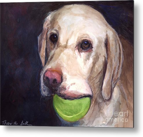 Yellow Labrador Retriever Metal Print featuring the painting Throw The Ball by Molly Poole