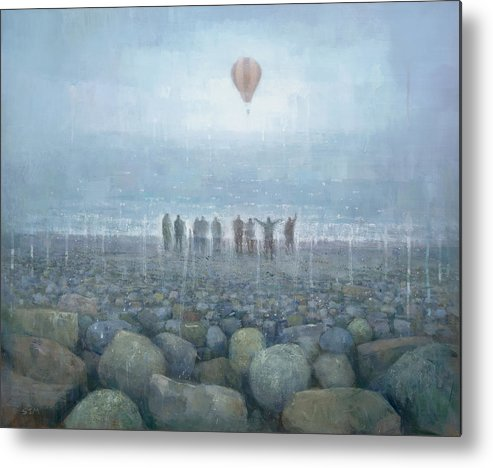 Original Metal Print featuring the painting To The Mountains Of The Moon by Steve Mitchell
