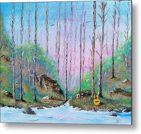 Landscape Metal Print featuring the painting Trees With Cuatro by Tony Rodriguez