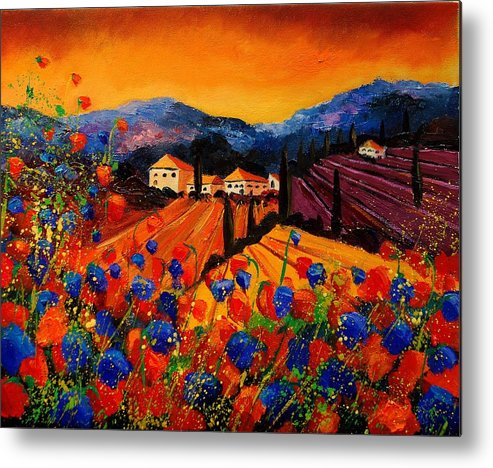 Poppies Metal Print featuring the painting Tuscany Poppies by Pol Ledent