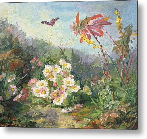 Wild Flowers And Butterfly Metal Print featuring the painting Wild Flowers And Butterfly by Jean Marie Reignier