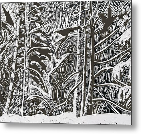 Crows Metal Print featuring the drawing Winter Etching by Grace Keown
