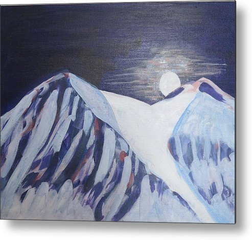 Moon Metal Print featuring the painting Winter Night In Skye by Richard Dorling