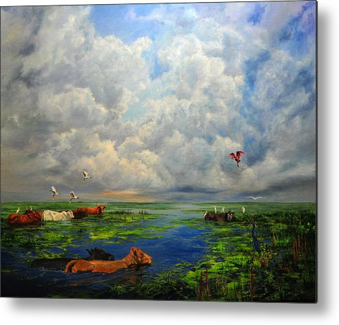 Landscape Metal Print featuring the painting Cow Party by AnnaJo Vahle