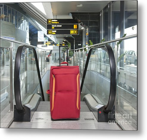 Abandoned Metal Print featuring the photograph Luggage At The Top Of An Escalator by Jaak Nilson