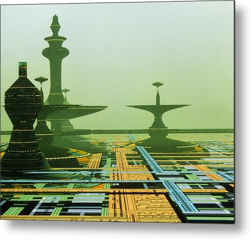 City Metal Print featuring the photograph Artwork Of An Alien City On A Circuit Board by Julian Baum