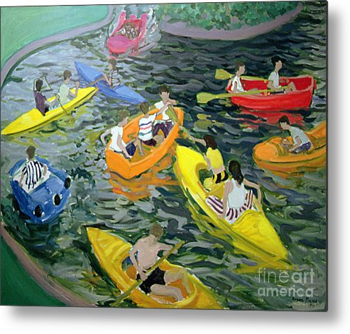 Canoe Metal Print featuring the painting Canoes by Andrew Macara