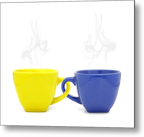 Cup Metal Print featuring the photograph Color Cup With Hot Drink On White Background by Natthawut Punyosaeng