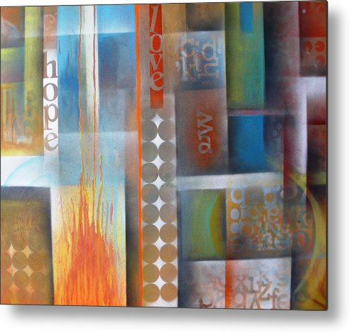 Love Metal Print featuring the painting Fire by Gladys Saravia