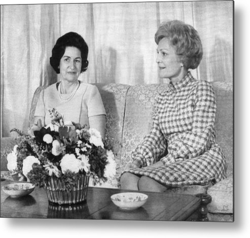 1960s Metal Print featuring the photograph First Lady Lady Bird Johnson Meets by Everett