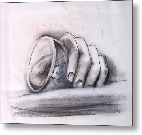 Drawing Metal Print featuring the drawing Glass In Hand by Olin McKay